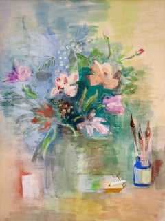 Flowers & Brushes - Post Impressionist Watercolor, Still Life by Jean Dufy