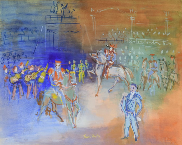 Parade Mexicaine by JEAN DUFY - Modern, Animals, Colourful, Fauve, Gouache  - Fauvist Painting by Jean Dufy