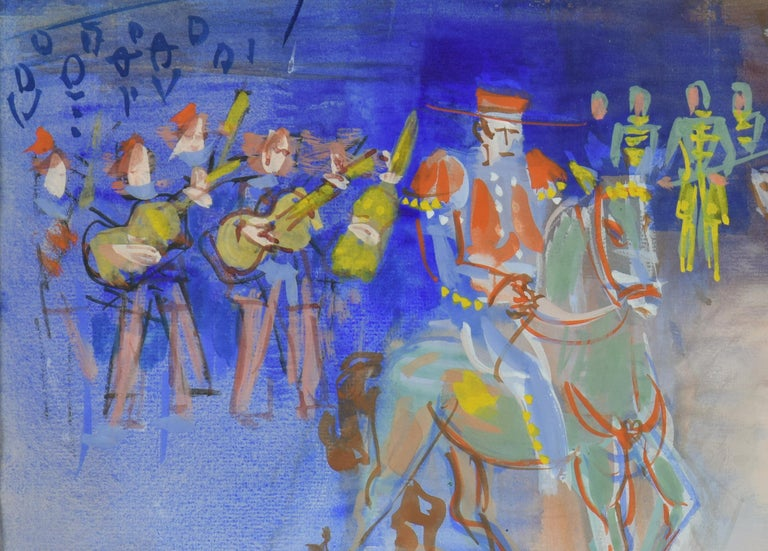 Parade Mexicaine by JEAN DUFY - Modern, Animals, Colourful, Fauve, Gouache  For Sale 1