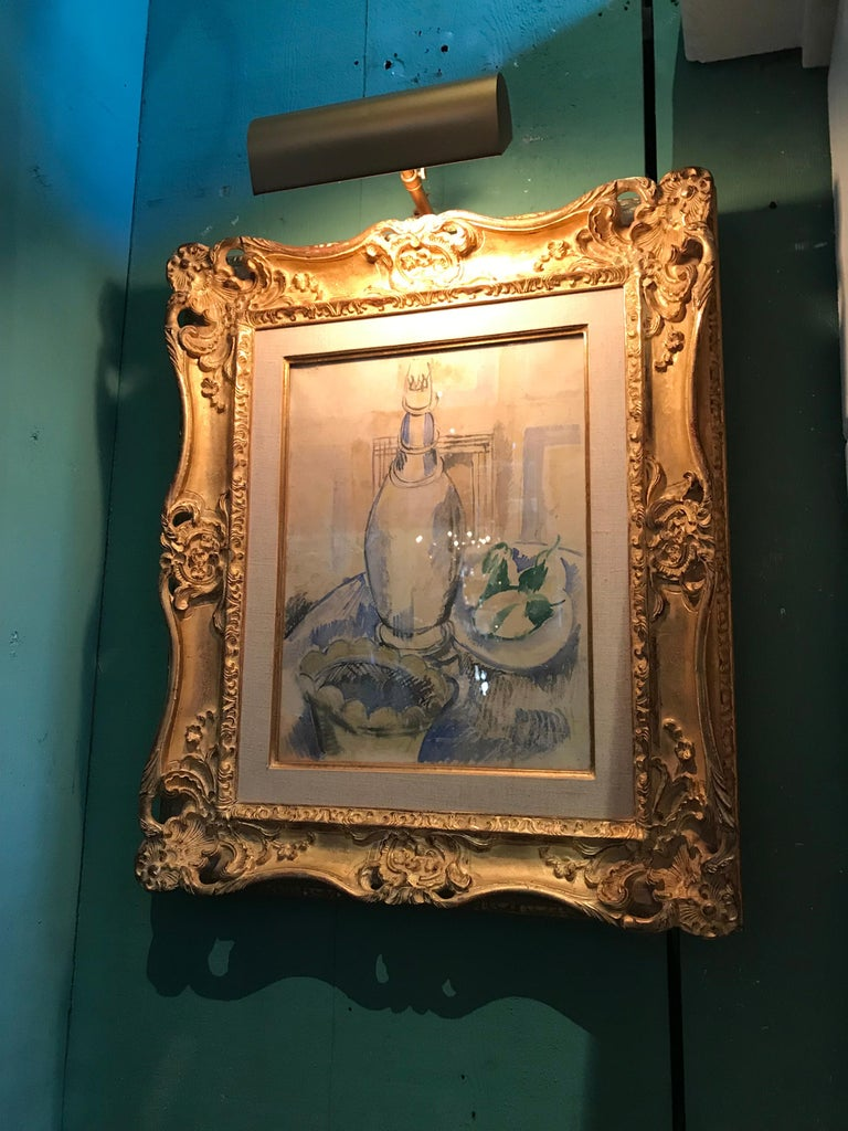 French Jean Dufy Watercolor Still Life with Estate Stamp Contemporary painting antiques For Sale