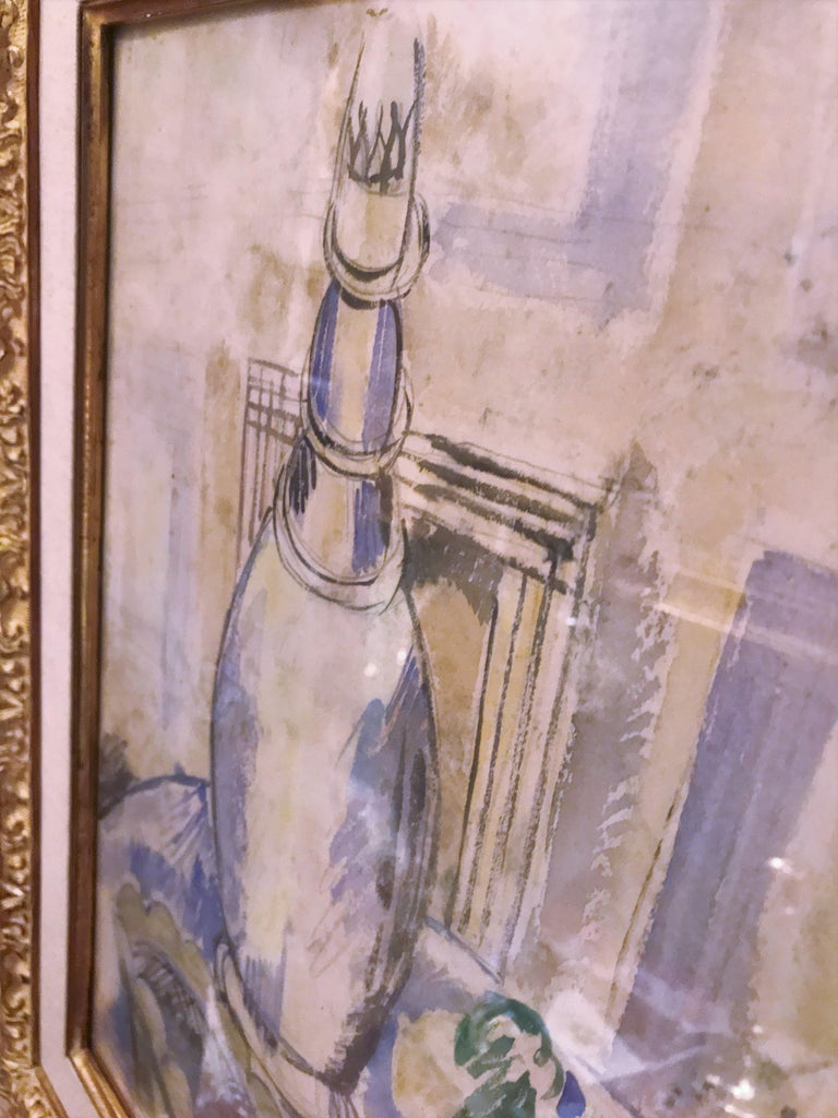 Jean Dufy Watercolor Still Life with Estate Stamp Contemporary painting antiques For Sale 1