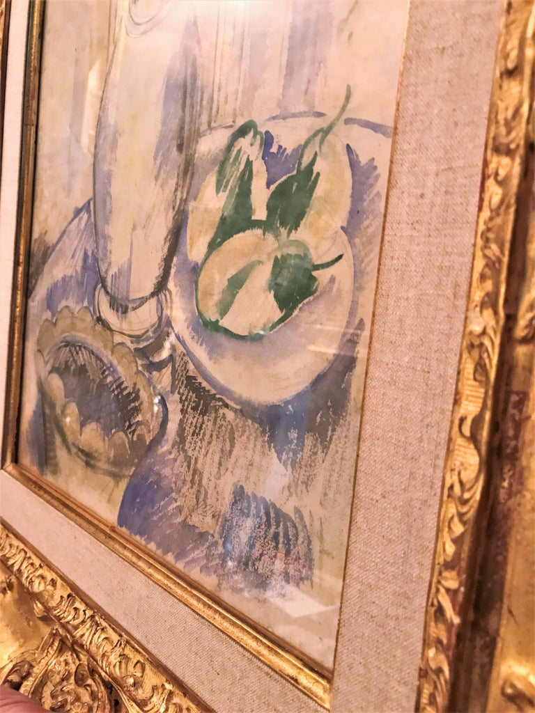 Jean Dufy Watercolor Still Life with Estate Stamp Contemporary painting antiques For Sale 2