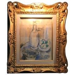 Jean Dufy Watercolor Still Life with Estate Stamp Contemporary painting antiques