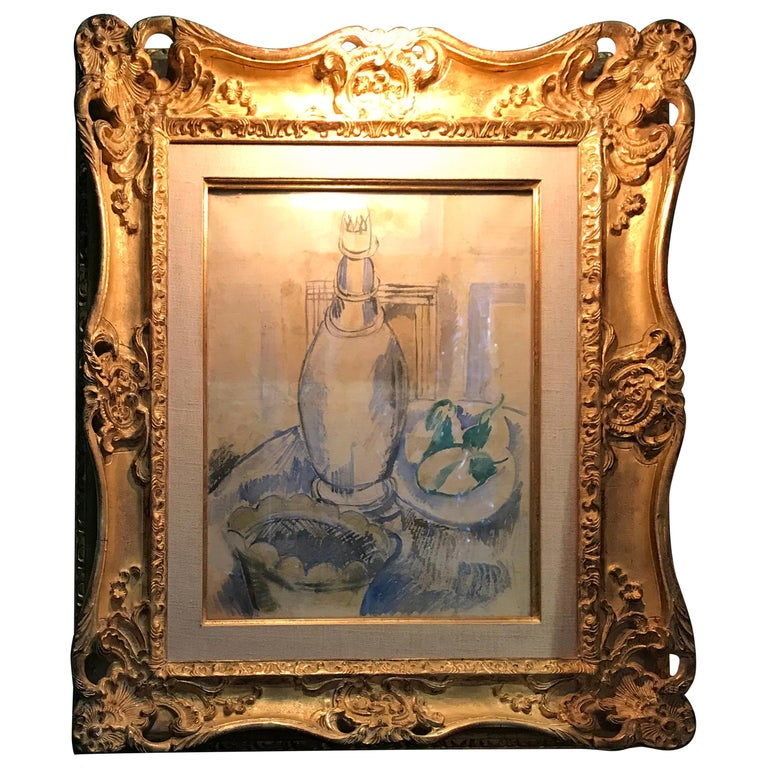 Jean Dufy Watercolor Still Life with Estate Stamp Contemporary painting antiques For Sale