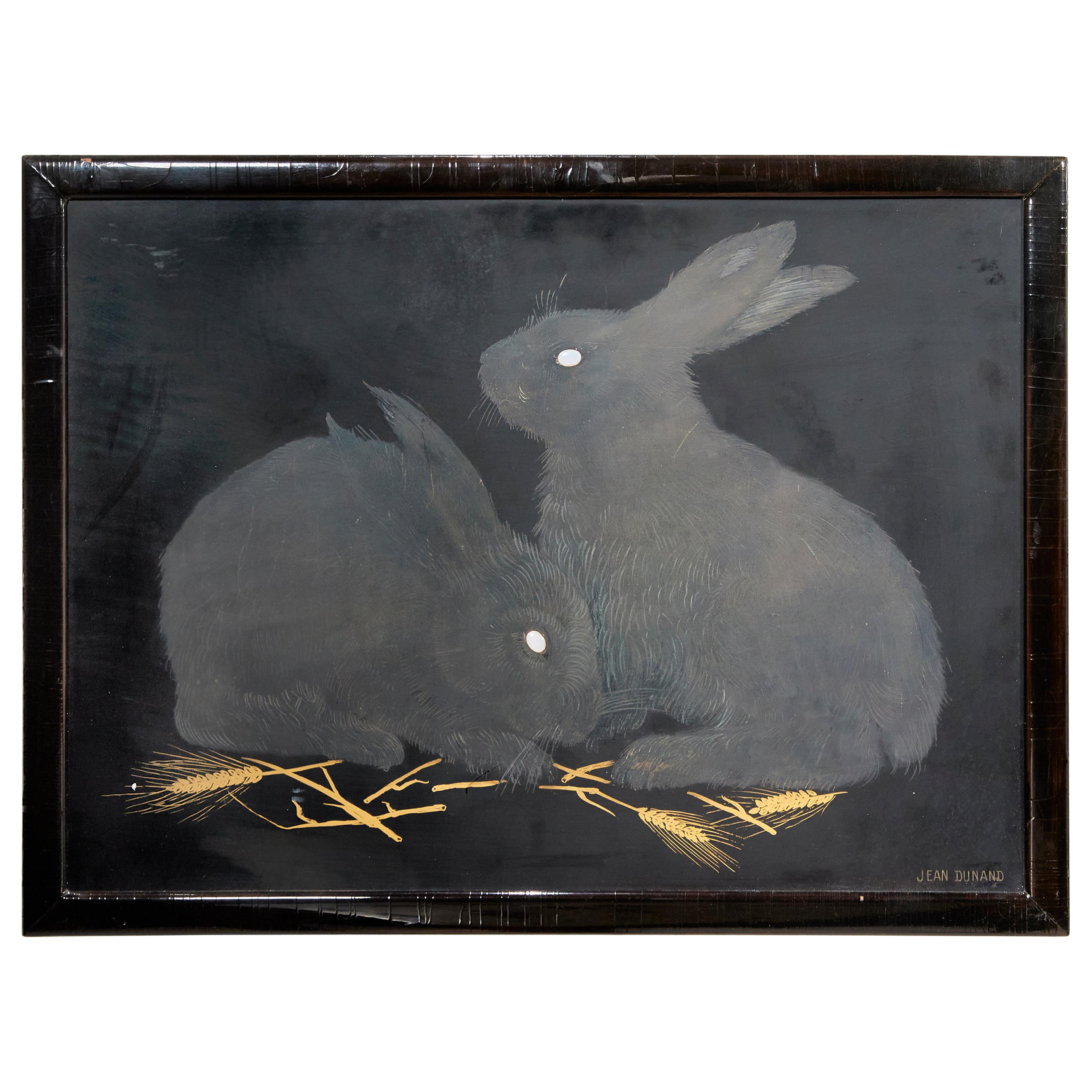 Jean Dunand, Art Deco Lacquered Panel Depicting Rabbits, France, circa 1926