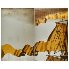 Jean Dupas, Two Verre Églomisé Panels from the SS Normandie, France, circa 1934