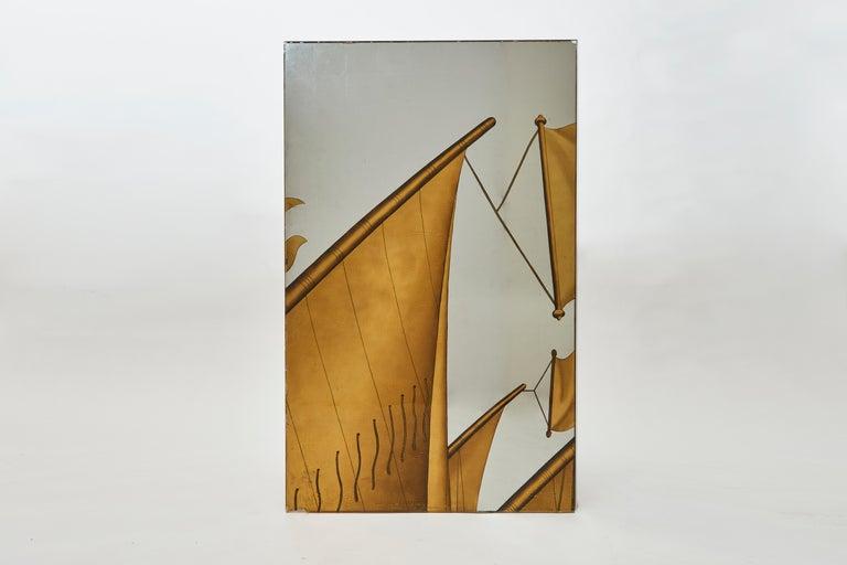 Art Deco Jean Dupas, Verre Églomisé Triptych from the SS Normandie, France, circa 1934 For Sale