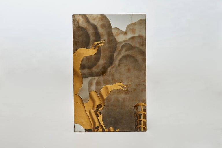 French Jean Dupas, Verre Églomisé Triptych from the SS Normandie, France, circa 1934 For Sale