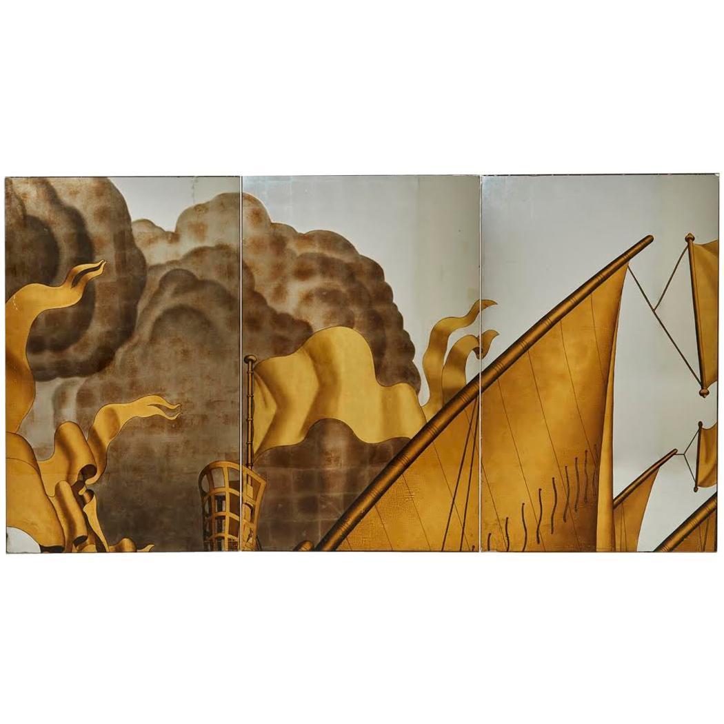 Jean Dupas, Verre Églomisé Triptych from the SS Normandie, France, circa 1934