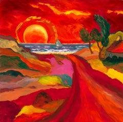 """""""La voile grise"""" - - France, Brittany, Expressionist, Red Sun, Ocean, Sailing"""
