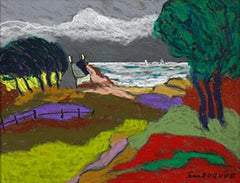 """""""Printemps tumultueux"""" - - France, Brittany, Expressionist, sea, pastel, spring"""
