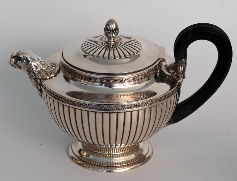 French Jean E. Puiforcat Silver Timeless Set for Tea and Coffee in Neoclassical Form For Sale