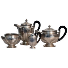 Jean E. Puiforcat Silver Timeless Set for Tea and Coffee in Neoclassical Form