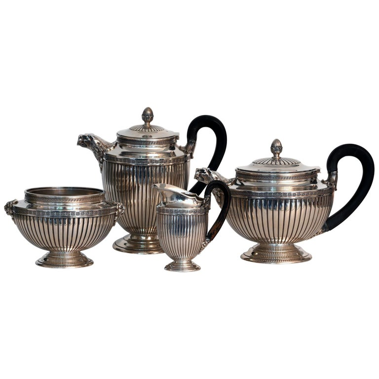 Jean E. Puiforcat Silver Timeless Set for Tea and Coffee in Neoclassical Form For Sale