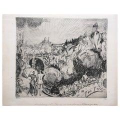 Jean-Emile Laboureur Etching Paysage Aux Buttes-Chaumont, 1921, Signed