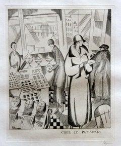Chez Le Patissier - Original Etching by J.E. Laboureur - 1924