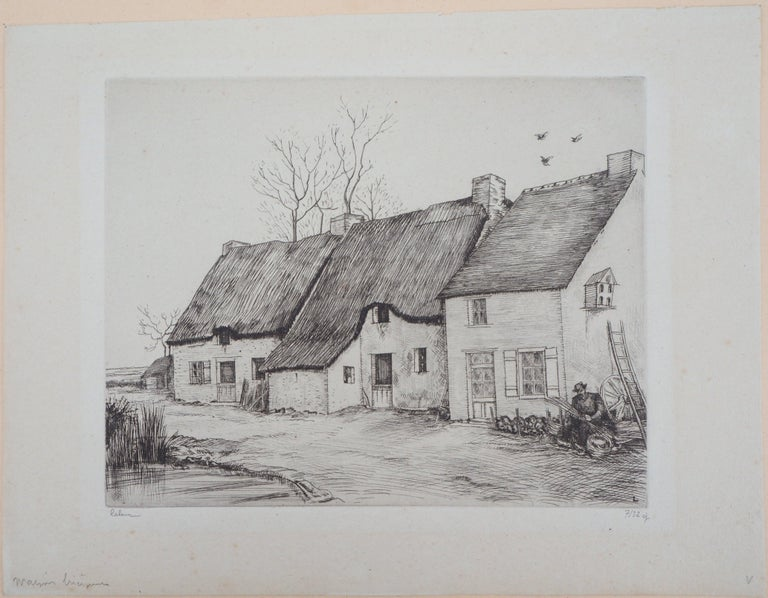 Houses in Brittany - Original Etching, Handsigned 3