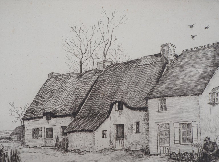 Houses in Brittany - Original Etching, Handsigned 4