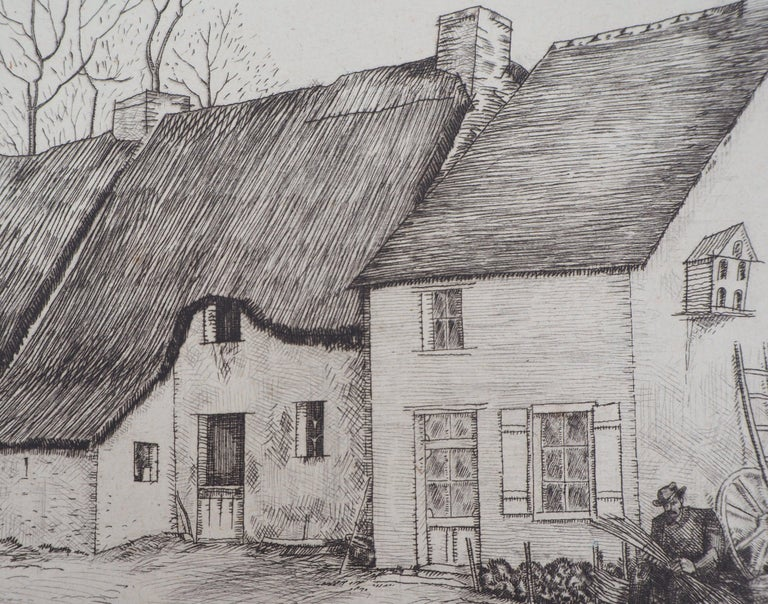 Houses in Brittany - Original Etching, Handsigned 5