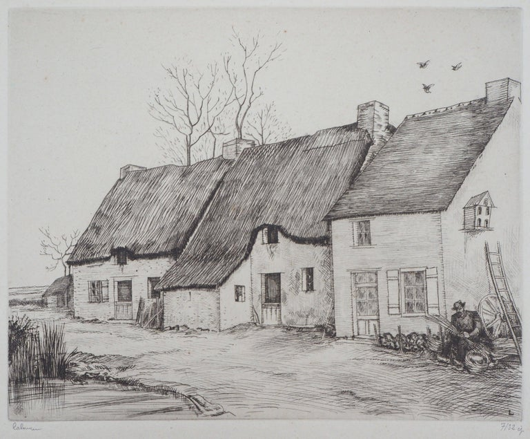 Houses in Brittany - Original Etching, Handsigned 1
