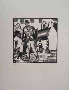 Rustical Hunter - Original woodcut, Handsigned and Numbered /160 - Ref #L747