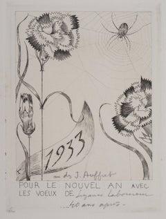 Spider with Flowers - Original Etching