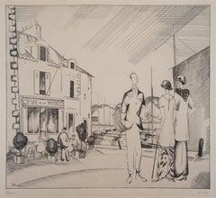 The Harbor Cafe - Original Etching, Handsigned