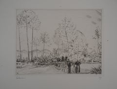 The Road with Pine Trees - Handsigned Etching, Limited /150