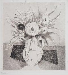 Vase of Flowers - Original Etching, Handsigned