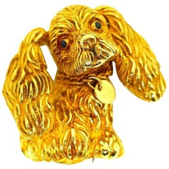 Jean Eté Yellow Gold Animal Clip Cocker Spaniel with Collar Vintage