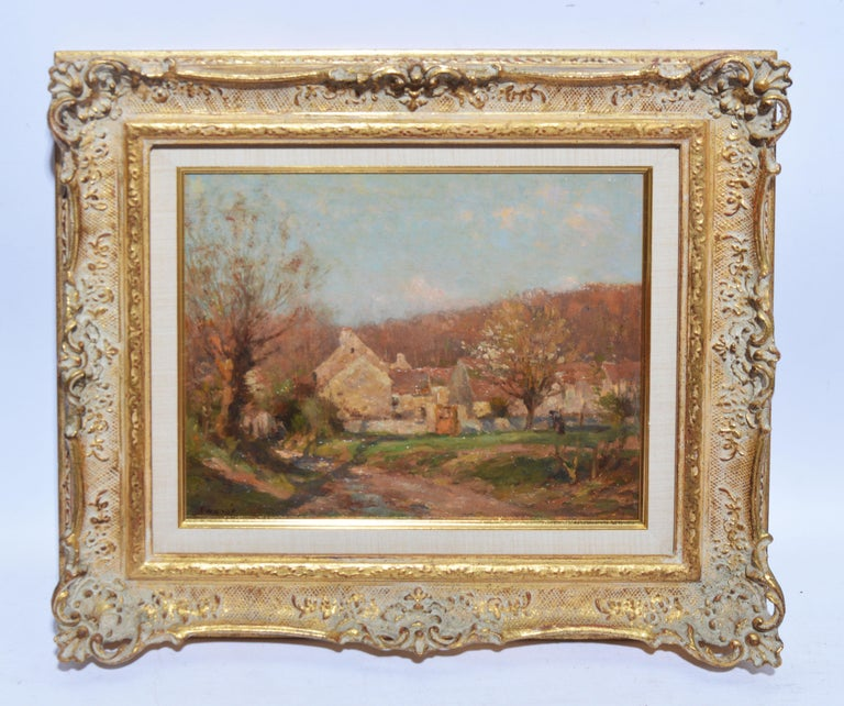 Antique French Impressionist Barbizon Landscape Oil Painting by Jean Masse - Brown Landscape Painting by Jean Eugene Julien Masse