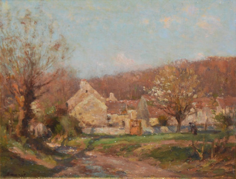 Antique barbizon landscape painting by Jean Eugène Julien Masse  (1856 - 1950).  Oil on board, circa 1890.  Signed.  Displayed in a giltwood frame.  Image size, 10.5