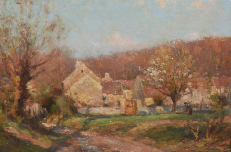 Antique French Impressionist Barbizon Landscape Oil Painting by Jean Masse 1