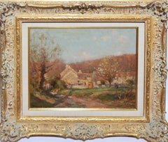 Antique French Impressionist Barbizon Landscape Oil Painting by Jean Masse