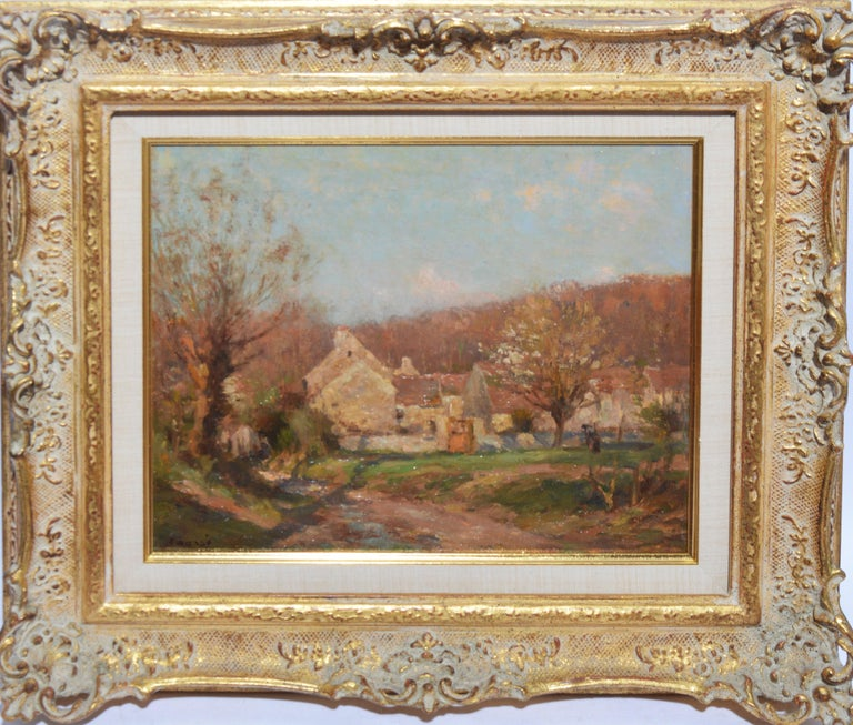 Jean Eugene Julien Masse Landscape Painting - Antique French Impressionist Barbizon Landscape Oil Painting by Jean Masse