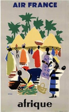 Air France Afrique  original vintage French travel poster to Africa
