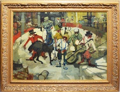 Vintage Paris Modern Circus Oil Painting by Jean Fabert Limbert