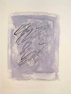 Griffure sur fond violet - Original Etching by Jean Fautrier - 1963