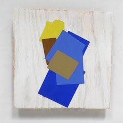"""Peeking Yellow"" Abstract Geometric Modern Blue Bright Oil on Wood Mixed Media"