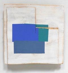 """Rip/Tear"" Abstract Geometric Modern Bright Blue Mixed Media Oil on Wood"