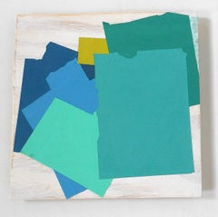 """""""Stack-Up"""" Abstract Goemetric Modern Oil on Wood Mixed Media Bright Blue Aqua"""