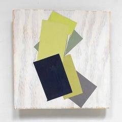 """Tilt"" Abstract Geometric Oil on Wood Mixed Media Green White Modern"