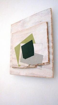 """Broken Pine"" Abstract Oil Paint on Wood Geometric Green Mixed Media Modern"