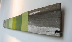 """""""Quotations in Green"""" Abstract Modern Mixed Media Oil on Wood Geometric"""