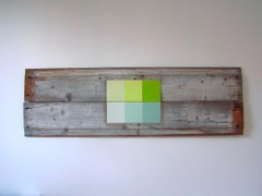 """""""Reflecting Pool"""" Abstract Geometric Moden Mixed Media Green Blue Oil Paint Wood"""