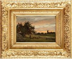 Bergère et son troupeau crépuscule, plaine de Barbizon