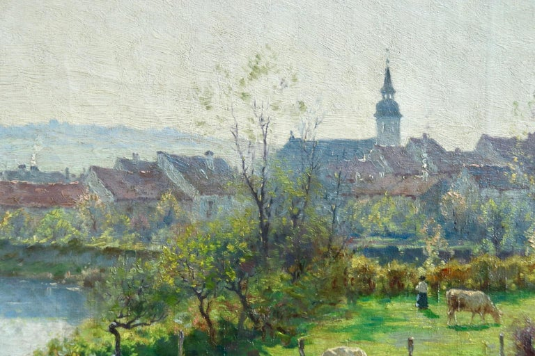 A Summer's Day - Impressionist Oil, Cattle by River in Landscape by J Monchablon - Painting by Jean Ferdinand Monchablon
