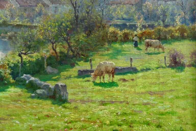A Summer's Day - Impressionist Oil, Cattle by River in Landscape by J Monchablon - Gray Animal Painting by Jean Ferdinand Monchablon