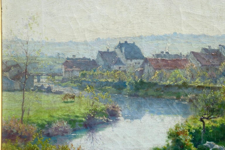 A Summer's Day - Impressionist Oil, Cattle by River in Landscape by J Monchablon 1