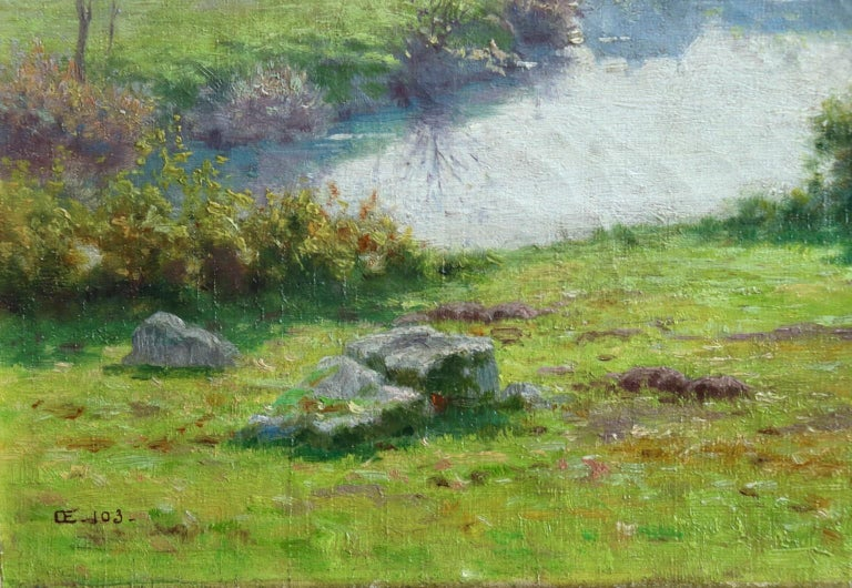 A Summer's Day - Impressionist Oil, Cattle by River in Landscape by J Monchablon 2
